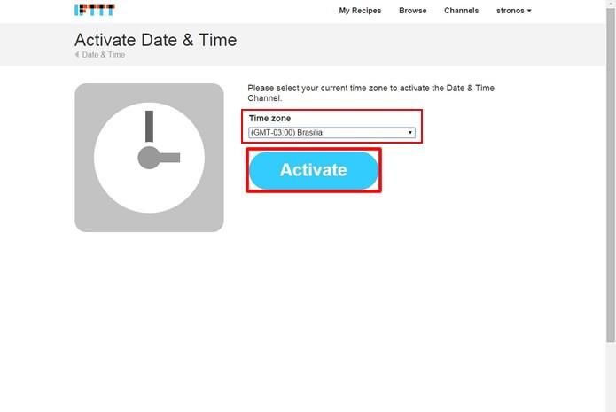 """Selecione o seu fuso horário e aperte no botão em destaque para ativar o """"Date & Time"""" (Foto: Reprodução/Daniel Ribeiro)"""