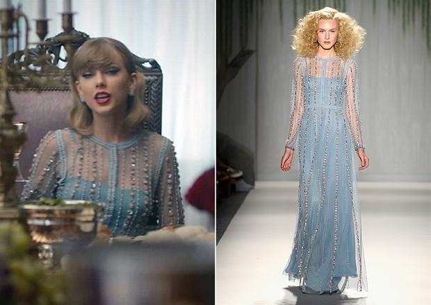 Na hora da refeio, ainda fazendo a linha fofa, a cantora usa um rico vestido azul desfilado no vero 2014 de Jenny Packham. (Foto: Reproduo / Getty Images)