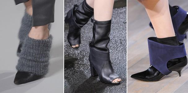 Polainas incorporadas aos sapatos de Alexander Wang, Phillip Lim e Victoria Beckham (Foto: Imaxtree)
