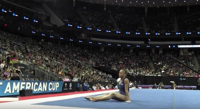 Lorrane Oliveira, ginástica, solo, American Cup, queda (Foto: Reprodução/Youtube)