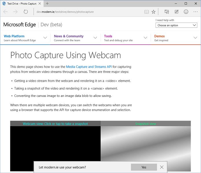 Edge já está testando recurso de captura de mídia no Windows 10 Technical Preview (Foto: Divulgação/Microsoft)