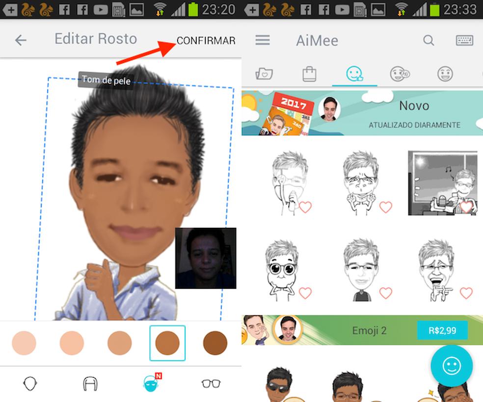 Opção para editar e configurar um avatar como o AiMee para Android (Foto: Reprodução/Marvin Costa)