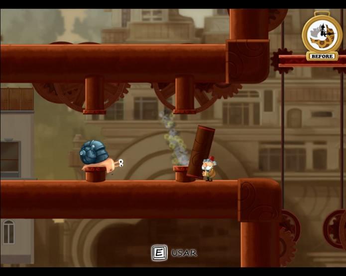 Chronology exige que os jogadores saibam combinar os poderes de manipulação do tempo de The Snail e Old (Foto: Reprodução/Daniel Ribeiro)