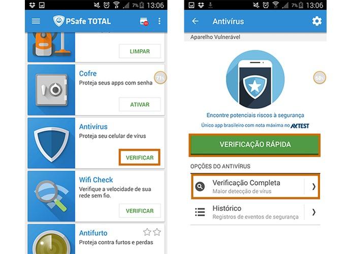 c9f87842824 Inicie a verificação de vírus no Android com o app PSafe Total (Foto:  Reprodução