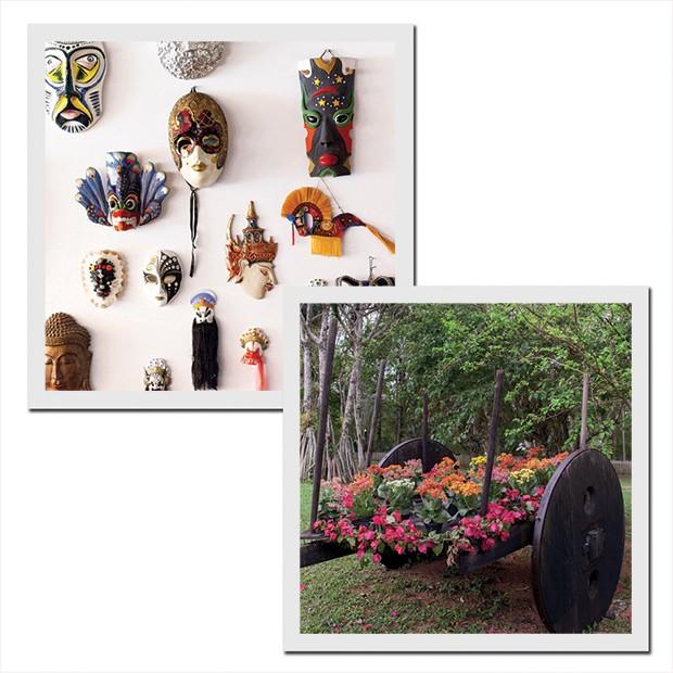 Coleção de máscaras garimpadas por sua avó, Sonia, em viagens por países como China, México e África do Sul e ao lado, as flores cultivadas na própria fazenda enfeitam o carro de boi. (Foto: Carolina Isabel Novaes)