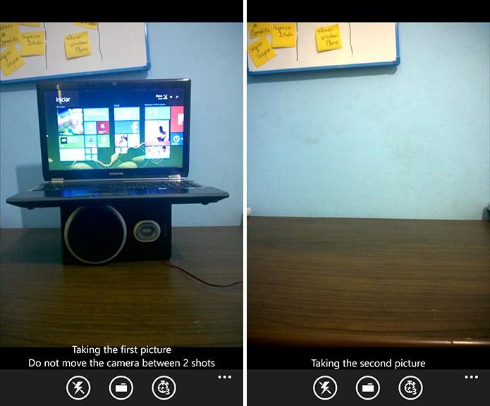 Levitagram exige que usuário tire duas fotografias: uma com objeto que fluturará e outra sem (Foto: Reprodução/Elson de SouzA)