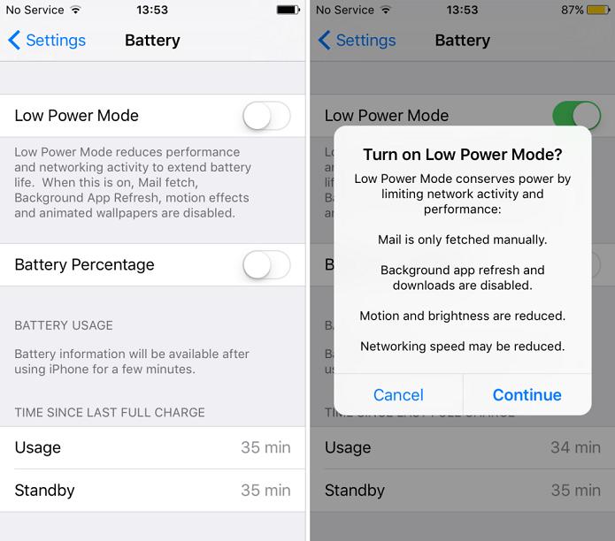 Modo de economia de energia do iOS 9 (Foto:Reprodução/iDownload Blog)