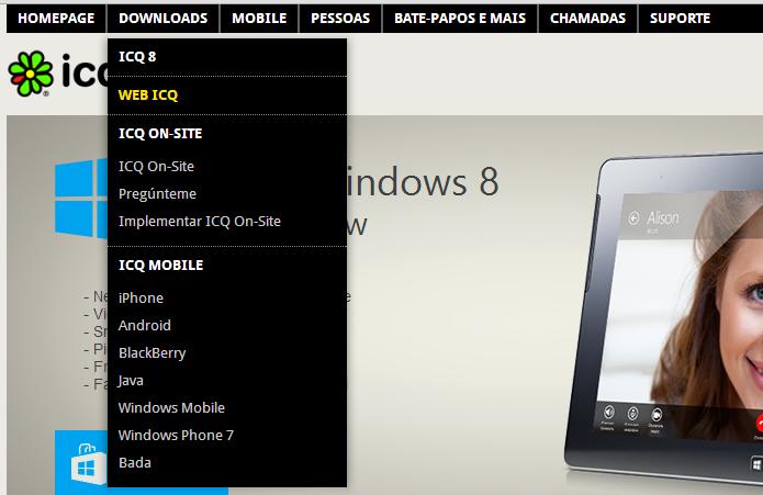 Acessando o ICQ pelo navegador (Foto: Reprodução/Helito Bijora)