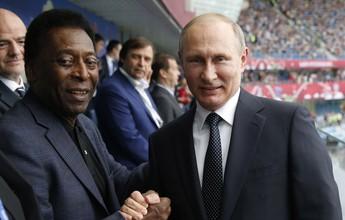 """Pelé brinca com """"fã"""" Putin e elogia Tite: """"Nele a gente pode confiar"""""""