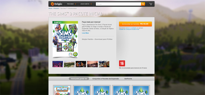 Página da Starter Edition de The Sims 3 no Origin (Foto: Reprodução/André Mello)