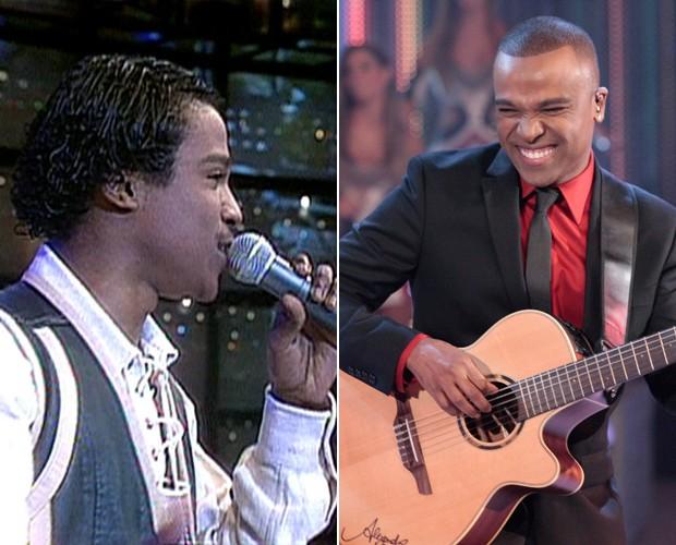 Alexandre Pires antes e depois: ele disse que mudou pouco... (Foto: Domingão do Faustão / TV Globo)