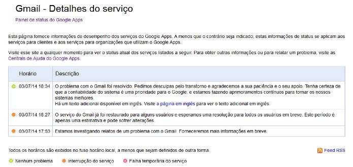 Relatório sobre o incidente no Gmail (Foto: Reprodução/Lívia Dâmaso)