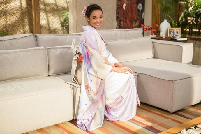 Mas os looks típicos da cultura japonesa estão presentes no guarda-roupa sim (Foto: Felipe Monteiro/Gshow)