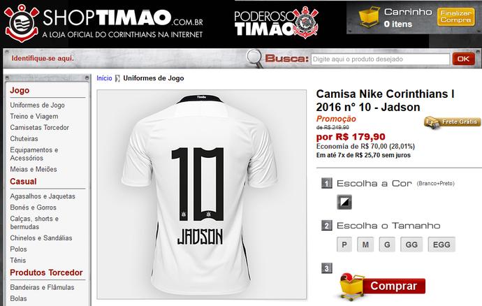 Loja do Corinthians já vende camisa com o nome de Jadson (Foto  Reprodução) fcb664cc049c5