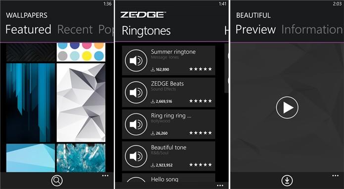 Zedge traz variadas opções de ringtones e papéis de parede para Windows Phone (Foto: Divulgação/Windows Phone Store)