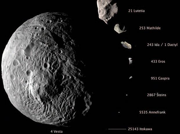 Imagem compara o tamanho de Vesta com o de outros asteroides conhecidos.  (Foto: NASA/JPL-Caltech/UCLA)