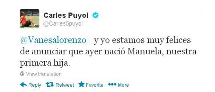 Puyol post nascimento filha (Foto: Reprodução/Twitter)