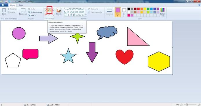Preencha formas com diversas cores (Foto: Reprodução/Camila Peres)