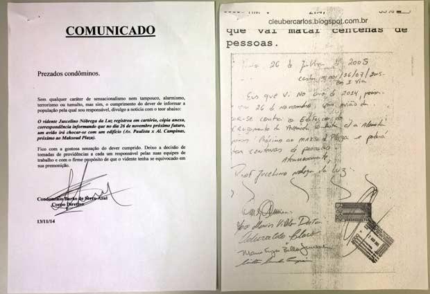 Comunicado enviado aos condôminos do Edifício Barão de Serro Azul sobre a premonição da queda de avião no dia 26 de novembro (Foto: Olivia Florência/ G1)