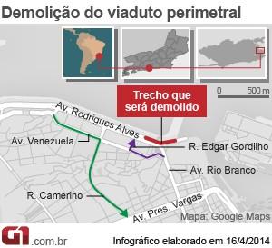 Mais um trecho da Perimetral será demolido, no Rio (Foto: Editoria de Arte/G1)