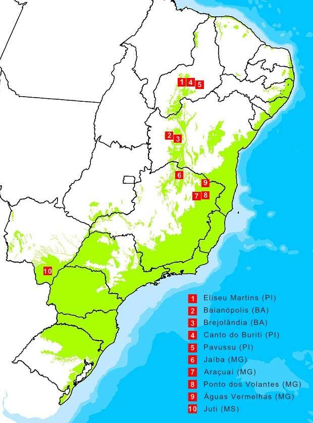 IMAGEM: Mapa mostra localização dos dez municípios com maior área de desmate na Mata Atlântica no período 2013/2014 (Foto: Imagem: SOSMA)