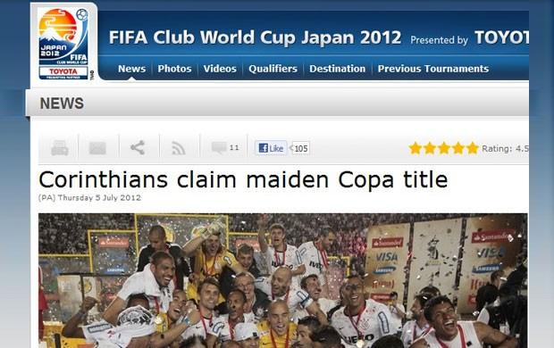Fifa divulga vitória do Corinthians (Foto: Divulgação / Site oficial da Fifa)