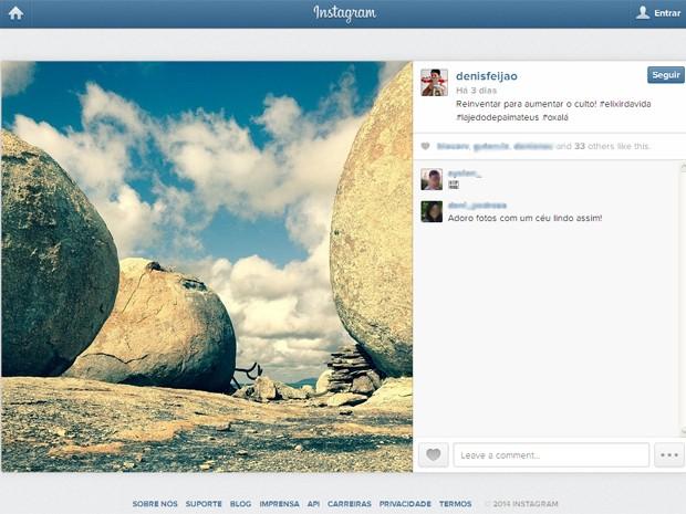 O produtor Denis Feijão mostra o Lajedo de Pai Mateus no Instagram (Foto: Reprodução/Instagram/@denisfeijao)
