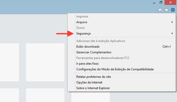 Acessando as opções de segurança do Internet Explorer para iniciar uma navegação anônima (Foto: Reprodução/Marvin Costa)