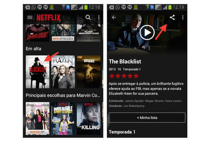 Utilizando a ferramenta de compartilhamento de um título do Netflix no Android (Foto: Reprodução/Marvin Costa)