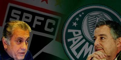 Carlos Miguel Aidar e Paulo Nobre São Paulo x Palmeiras (Foto: Editoria de Arte)