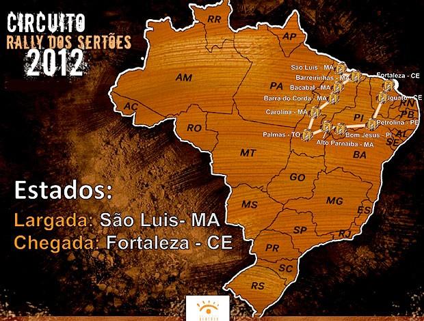 mapa do circuito do Rally dos Sertões (Foto: Divulgação)