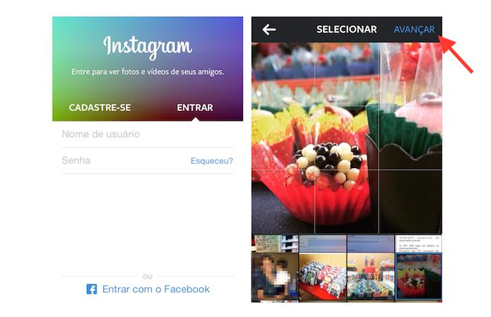 Realizando login no Instagram e iniciando o processo para postar uma nova imagem (Foto: Reprodução/Marvin Costa)
