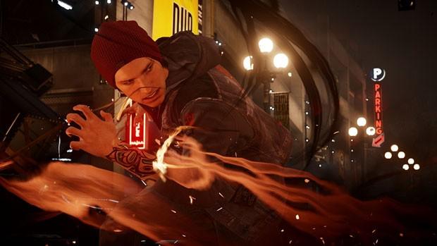 Delsin, herói de 'Infamous: Second Son' tem habilidaes especiais que suga de elementos como fumaça e neon (Foto: Divulgação/Sony)