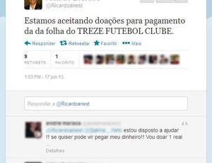 Twitter de Ricardo Loureiro, presidente do Conselho Deliberativo do Treze (Foto: Reprodução / Twitter)