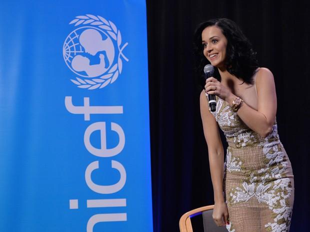 Katy Perry em evento da Unicef em Nova York, nos Estados Unidos (Foto: Stan Honda/ AFP)
