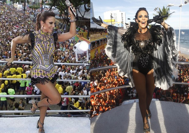 No trio, com figurinos dos carnavais de 2016 e 2011 (Foto: Getty Images)