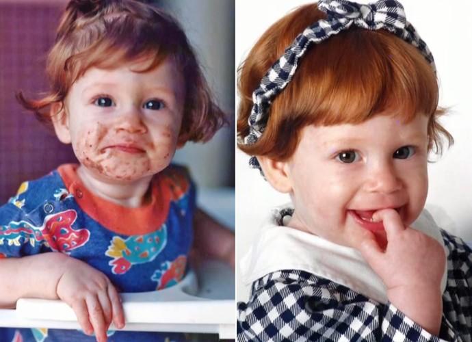 Dois momentos de Marina Ruy Barbosa na infância (Foto: Encontro com Fátina Bernardes / TV Globo)