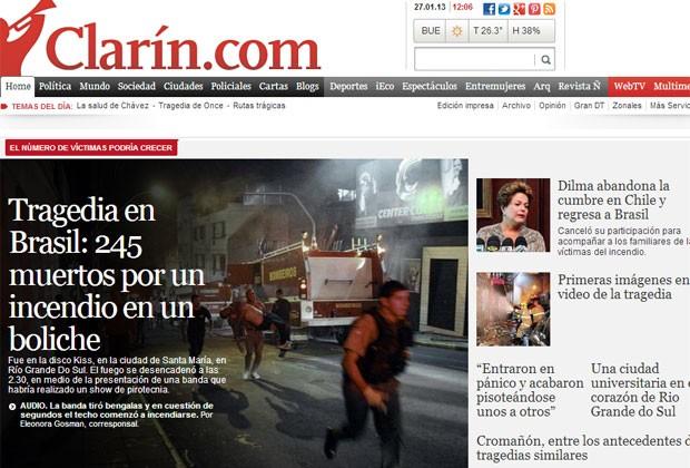 """O jornal argentino """"Clarín"""" apresentou o caso como a principal notícia em sua página na internet (Foto: Reprodução)"""