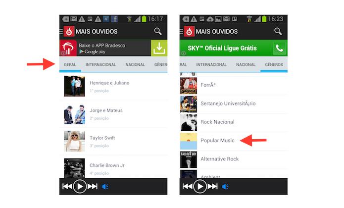 Navegando pela barra de conteúdo do Ouvela no Android (Foto: Reprodução/Marvin Costa)