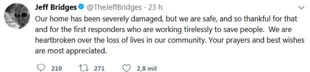 Jeff Bridges faz post no Twitter (Foto: Reprodução)