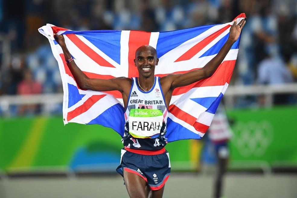 Mo Farah é bicampeão olímpico dos 5.000m e dos 10.000m (Foto: Fabrice COFFRINI / AFP)