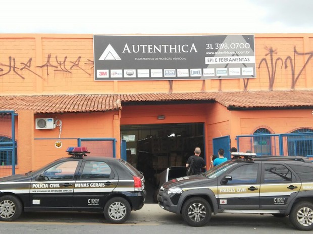 Fachada empresa que cometia golpes contra fornecedores, em Contagem, na Região Metropolitana (Foto: Polícia Civil/Divulgação)