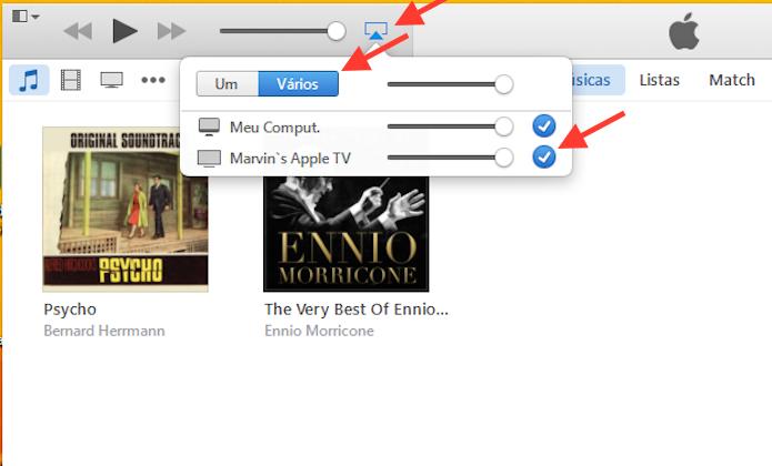 Enviando o áudio do iTunes para a Apple TV e mantendo a reprodução nos alto-falantes do computador (Foto: Reprodução/Marvin Costa)