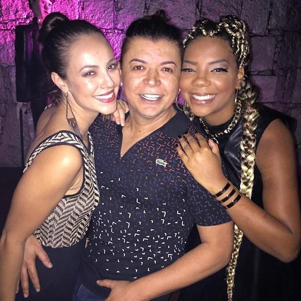 Paolla Oliveira, David Brazil e MC Ludmilla em festa no Rio (Foto: Instagram/ Reprodução)