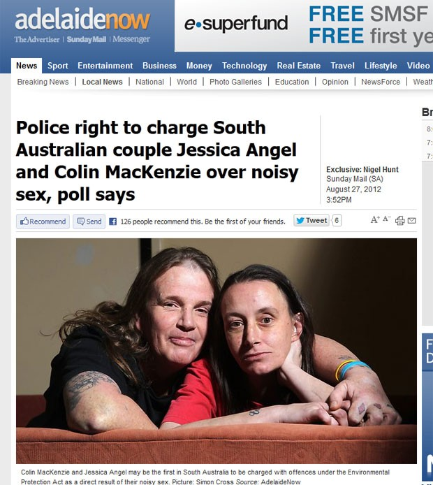 Colin MacKenzie e Jessica Angel podem ser multado por causa de sexo barulhento. (Foto: Reprodução)