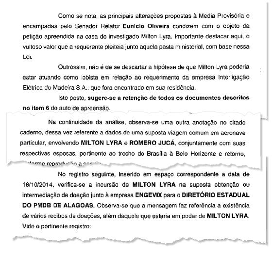 Trechos do relatório da Polícia Federal.  O lobista Milton Lyra e a venda de Medidas Provisórias são dois caminhos que levam a Lava Jato ao PMDB do Senado  (Foto: Reprodução)