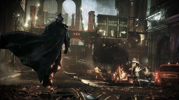 Batman prepara-se para enfrentar um grupo de bandidos em Arkham Knight (Foto: Paradiger)