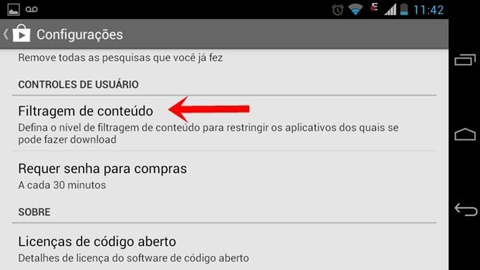 Opção Filtragem de conteúdo permite limitar o acesso a apps na Google Play (Foto: Reprodução / Dario Coutinho)
