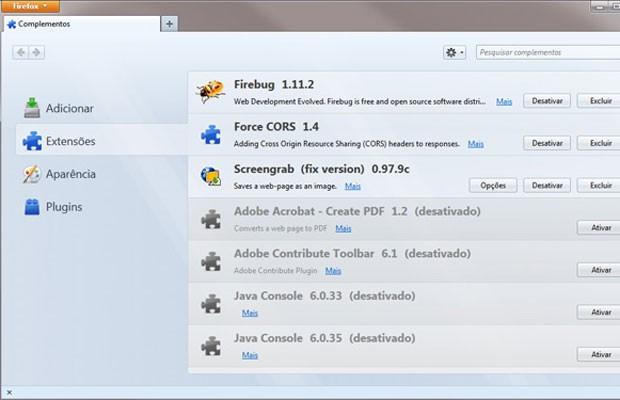 Lista de extensões instaladas no Firefox. (Foto: Reprodução)