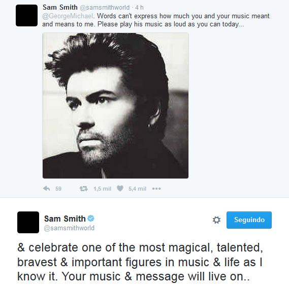 Sam Smith faz homenagem a George Michael (Foto: Reprodução/Twitter)